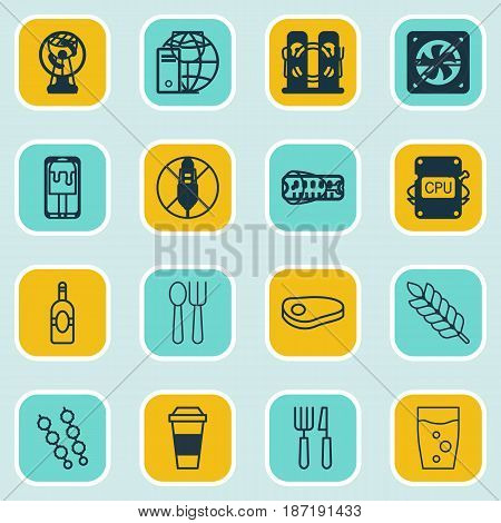 Set Of 16 Restaurant Icons. Includes Cutlery, Wineglass, Stop Smoke And Other Symbols. Beautiful Design Elements.