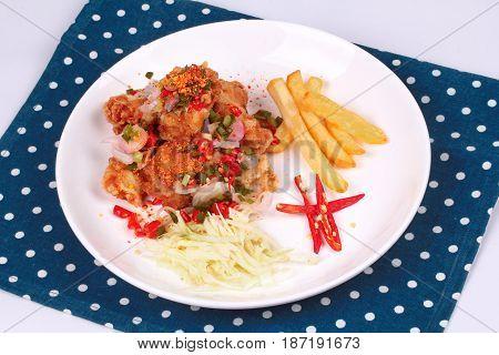 Spicy Crispy Deep-fried Karaoge Chicken Salad.