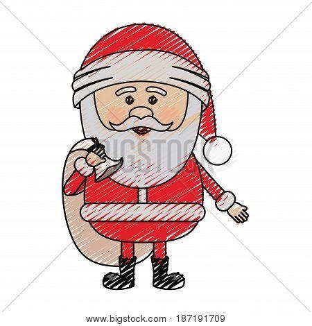color crayon stripe cartoon of santa claus with gift bag vector illustration