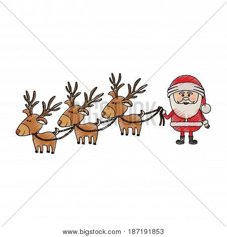 color crayon stripe cartoon of three reindeers and santa claus vector illustration