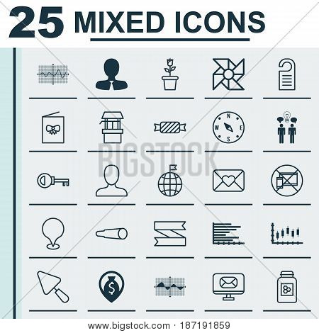Set Of 25 Universal Editable Icons. Can Be Used For Web, Mobile And App Design. Includes Elements Such As Locate, Bars Chart, Water Source And More.