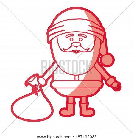 red silhouette of santa claus with gift bag on floor vector illustration