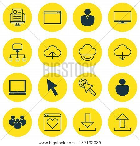 Set Of 16 Internet Icons. Includes Virtual Storage, Program, Display And Other Symbols. Beautiful Design Elements.