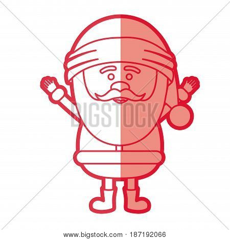 red silhouette of santa claus with open arms vector illustration