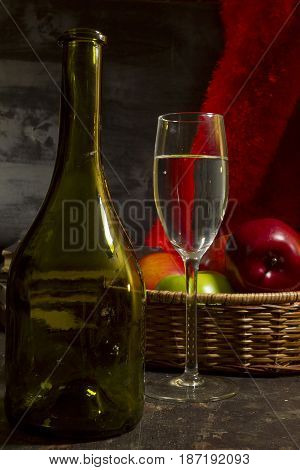 Vintage still life with wine and apples