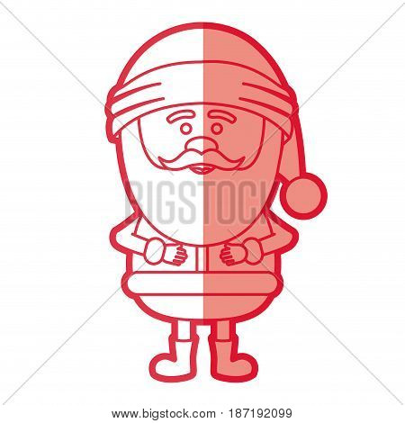 red silhouette of santa claus standing vector illustration