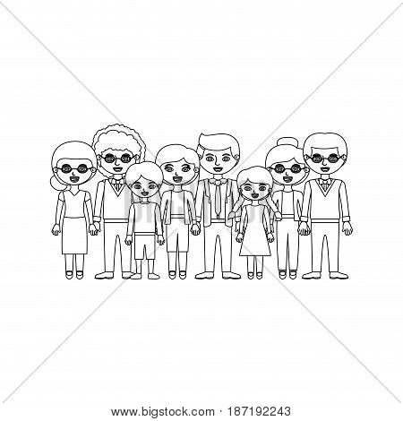 monochrome silhouette with family group with informal clothes and some adults with glasses and a man with curly hair vector illustration