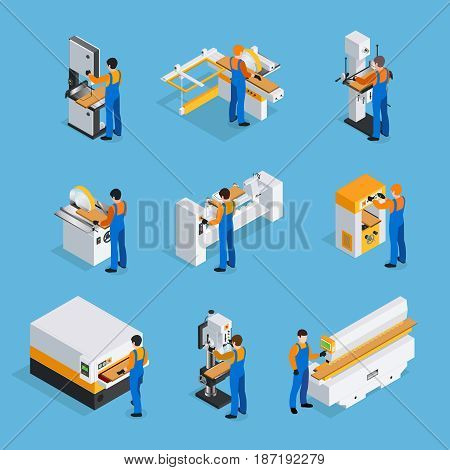 Woodwork isometric icons set on blue background isolated vector illustration