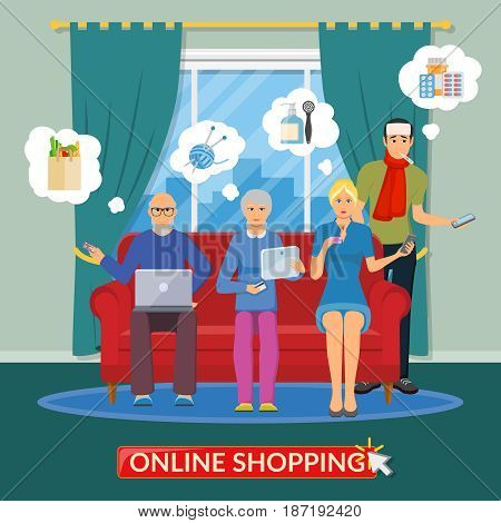 Online shopping flat composition with people group making purchases on Internet using the computer phone and tablet vector illustration