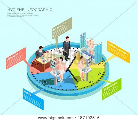 Hygiene infographic isometric conceptual composition with male character morning wash-up routine on top of clockface vector illustration
