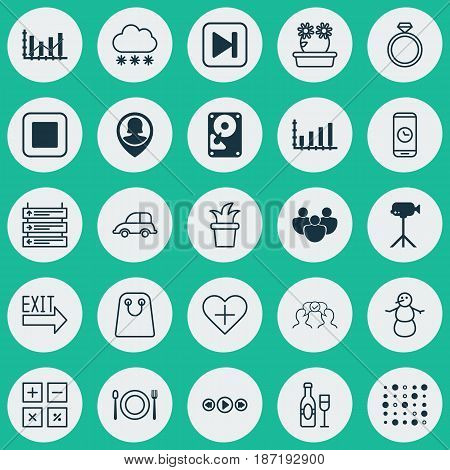 Set Of 25 Universal Editable Icons. Can Be Used For Web, Mobile And App Design. Includes Elements Such As Stop Button, Pin Employee, Camcorder And More.