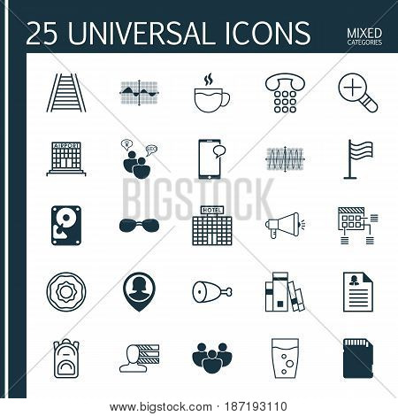 Set Of 25 Universal Editable Icons. Can Be Used For Web, Mobile And App Design. Includes Elements Such As Soda Drink, Pin Employee, Cosinus Diagram And More.