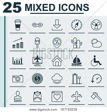 Set Of 25 Universal Editable Icons. Can Be Used For Web, Mobile And App Design. Includes Elements Such As Login, Coins Growth, Haversack And More.