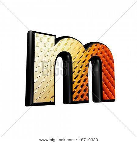 Abstract 3d letter with futuristic texture - M