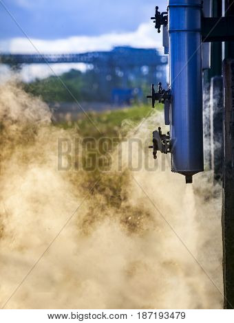 smoke gas from high press release tube in heavy petrochemical industry estate