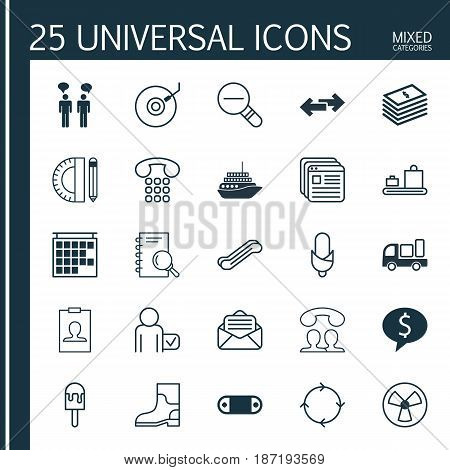 Set Of 25 Universal Editable Icons. Can Be Used For Web, Mobile And App Design. Includes Elements Such As Departure Information, Baggage Carousel, Lolly And More.