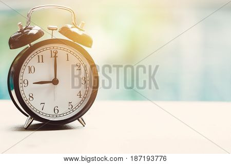 9 O'clock Retro Clock At The Swimming Pool Outdoor Relax Time Holiday Time Concept.