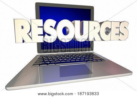 Online Resources Laptop Computer Digital Internet Information 3d Illustration