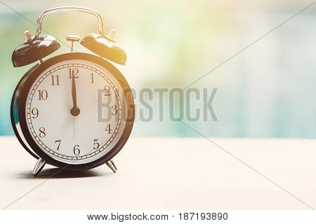 12 O'clock Retro Clock At The Swimming Pool Outdoor Relax Time Holiday Time Concept.