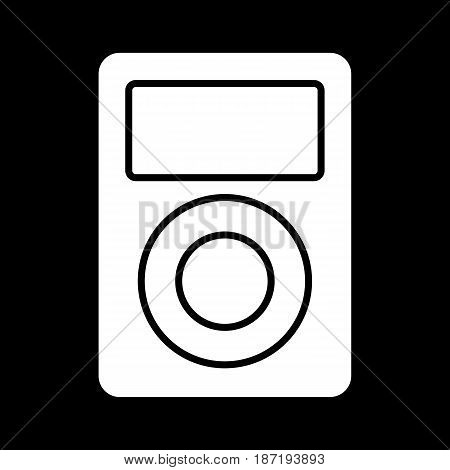 portable music device. Vector icon. Music player isolated on black. eps 10