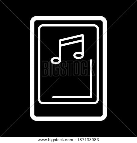 Isolated tablet screen with music player symbol on black background. Concept of audio playback, multimedia, stream. Music device, eps 10
