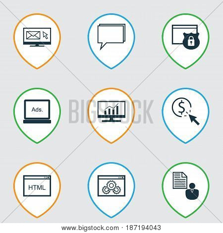 Set Of 9 Marketing Icons. Includes Conference, Newsletter, Security And Other Symbols. Beautiful Design Elements.