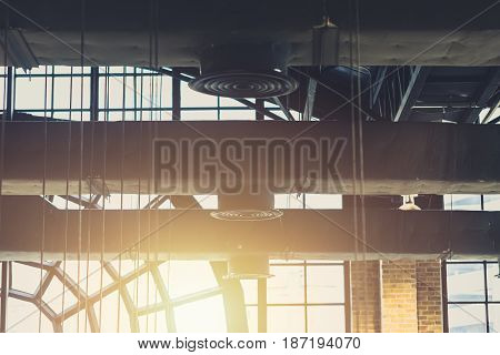 Industrial Factory concept for background Air duct Danger and the cause of pneumonia in office man.