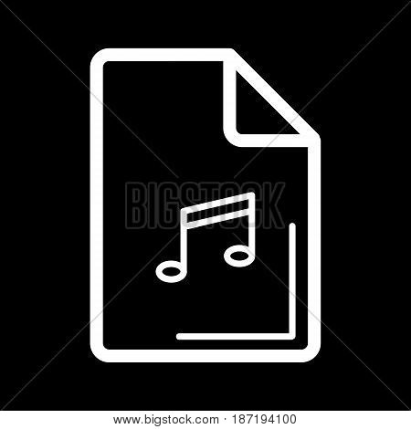 Audio file icon on black background. Vector illustration. eps 10