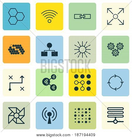 Set Of 16 Robotics Icons. Includes Information Base, Branching Program, Algorithm Illustration And Other Symbols. Beautiful Design Elements.