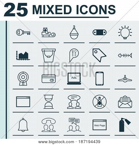 Set Of 25 Universal Editable Icons. Can Be Used For Web, Mobile And App Design. Includes Elements Such As Website, Sequence Graphics, Password And More.