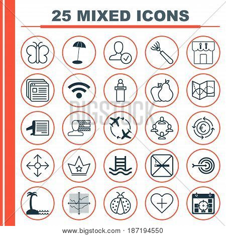 Set Of 25 Universal Editable Icons. Can Be Used For Web, Mobile And App Design. Includes Elements Such As Coast Parasol, Corona, Team Organisation And More.