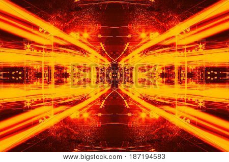 illustration of Futuristic Sci-Fi Complex New Era abstract. Hi tech Cyber Space Advanced Technology concept background.