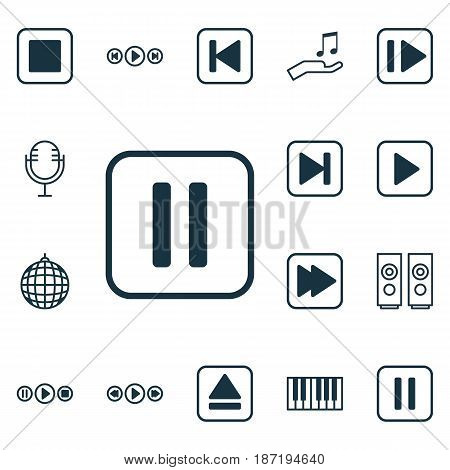 Set Of 16 Music Icons. Includes Mute Song, Piano, Dance Club And Other Symbols. Beautiful Design Elements.