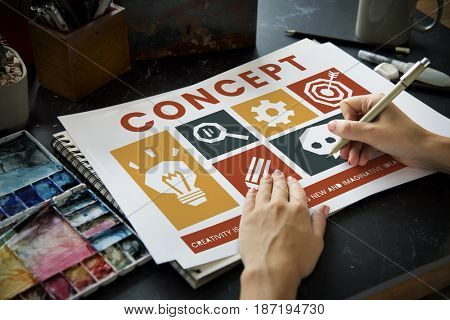 Hands with different creative icons banner