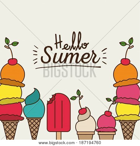 colorful poster of hello summer with variety of ice creams vector illustration
