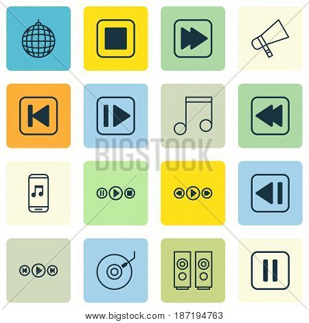 Set Of 16 Music Icons. Includes Song UI, Following Music, Stop Button And Other Symbols. Beautiful Design Elements.