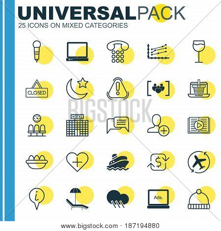 Set Of 25 Universal Editable Icons. Can Be Used For Web, Mobile And App Design. Includes Elements Such As E-Trade, Recurring Payements, Ovum And More.
