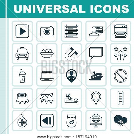 Set Of 25 Universal Editable Icons. Can Be Used For Web, Mobile And App Design. Includes Elements Such As Employee Location, Tree Toy, Obstacle And More.
