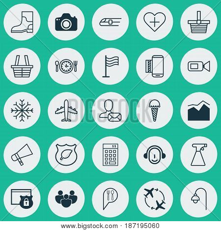 Set Of 25 Universal Editable Icons. Can Be Used For Web, Mobile And App Design. Includes Elements Such As Pannier, Video Camcorder, Lamppost And More.