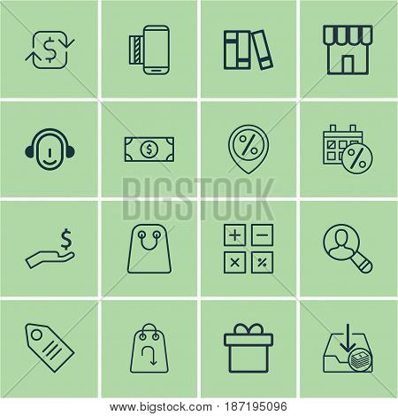 Set Of 16 Ecommerce Icons. Includes Shop, Present, Discount Location And Other Symbols. Beautiful Design Elements.