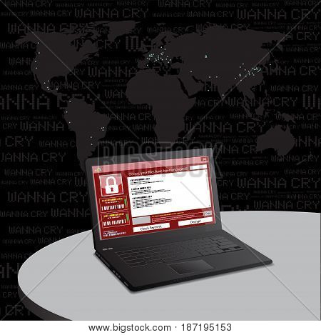 malware attack. ransom malware name is wanna cry,  cyber virus attack the world, vector illustration. poster