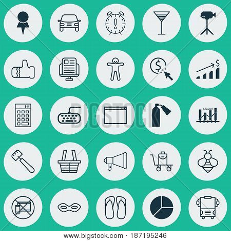 Set Of 25 Universal Editable Icons. Can Be Used For Web, Mobile And App Design. Includes Elements Such As Automobile, Computer Keypad, Program And More.
