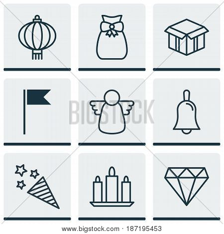Set Of 9 Celebration Icons. Includes Flag Point, Wax, Firecracker And Other Symbols. Beautiful Design Elements.