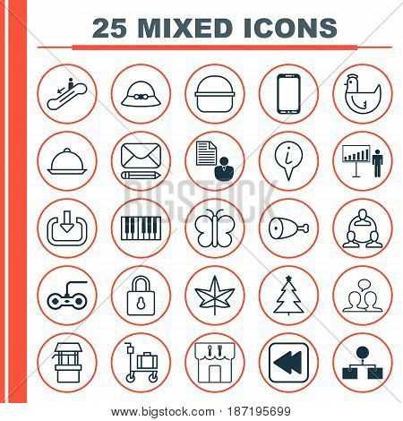 Set Of 25 Universal Editable Icons. Can Be Used For Web, Mobile And App Design. Includes Elements Such As Report, Woman Cap, Teamwork And More.