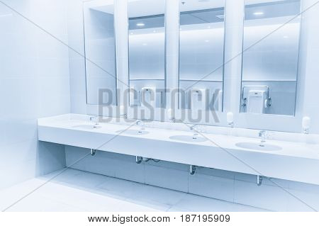 Clean New Modern Interior Toilet Sink Row Blue Color Tone. Water Hand Shower In Bathroom.