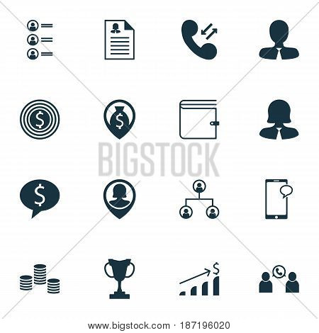 Set Of 16 Management Icons. Includes Tournament, Cellular Data, Job Applicants And Other Symbols. Beautiful Design Elements.