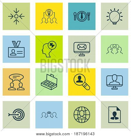 Set Of 16 Business Management Icons. Includes Dinner, Dialogue, Business Aim And Other Symbols. Beautiful Design Elements.