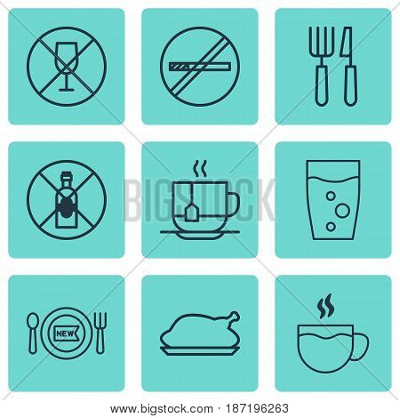 Set Of 9 Food Icons. Includes Soda Drink, Chicken Fry, Alcohol Forbid And Other Symbols. Beautiful Design Elements.