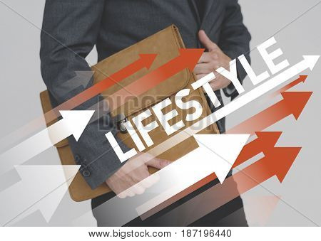 Life Motivation Word on Adult Businessman Background