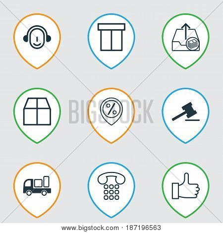 Set Of 9 Ecommerce Icons. Includes Employee, Gavel, Recommended And Other Symbols. Beautiful Design Elements.